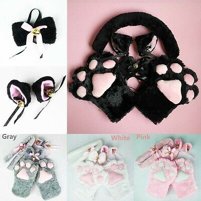 Feine Cute Cat ears + tail + bow-tie + paws claw glove Anime Cosplay 1 Set Gut
