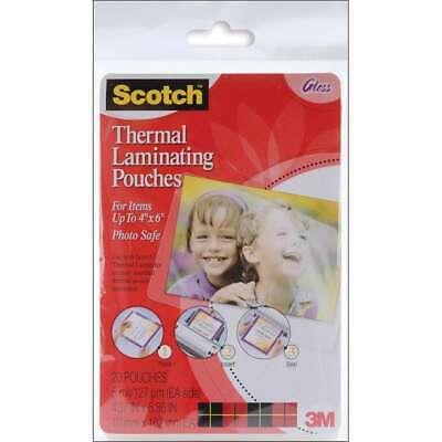 Scotch Thermal Laminator Pouches 20pkg 4x6 021200468803