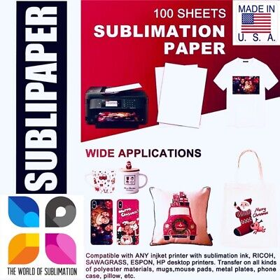 Sublipaper 100 Sh 8.5x14 Dye Sublimation Ink Heat Transfer Paper Mugs Blanks