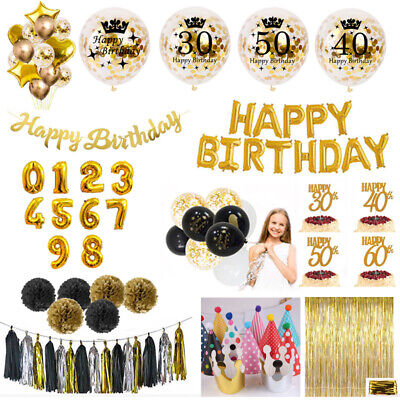 Gold Bunting Banner Balloons Latex Balloon 30/40th Happy Birthday Party
