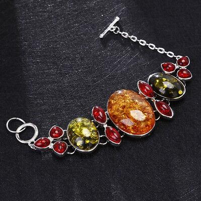 Vintage Women Baltic Amber Bracelet Bangle 925 Silver Chain Jewelry Wedding Gift Jewelry Bangle Vintage Bracelet