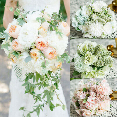 USA Artificial Fake Rose Silk Flower Bridal Bouquet Hydrangea Home Wedding (Hydrangea Rose Bouquet)