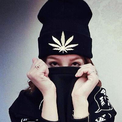 Mens Womens Metal Weed Leaf Marijuana Knitting Cap Pharaoh Beanie Winter Hat New (Pharaoh Hat)