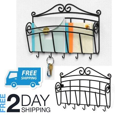 Key And Mail Holder Wall Mounted Entryway Letter Organizer Rack Front Door
