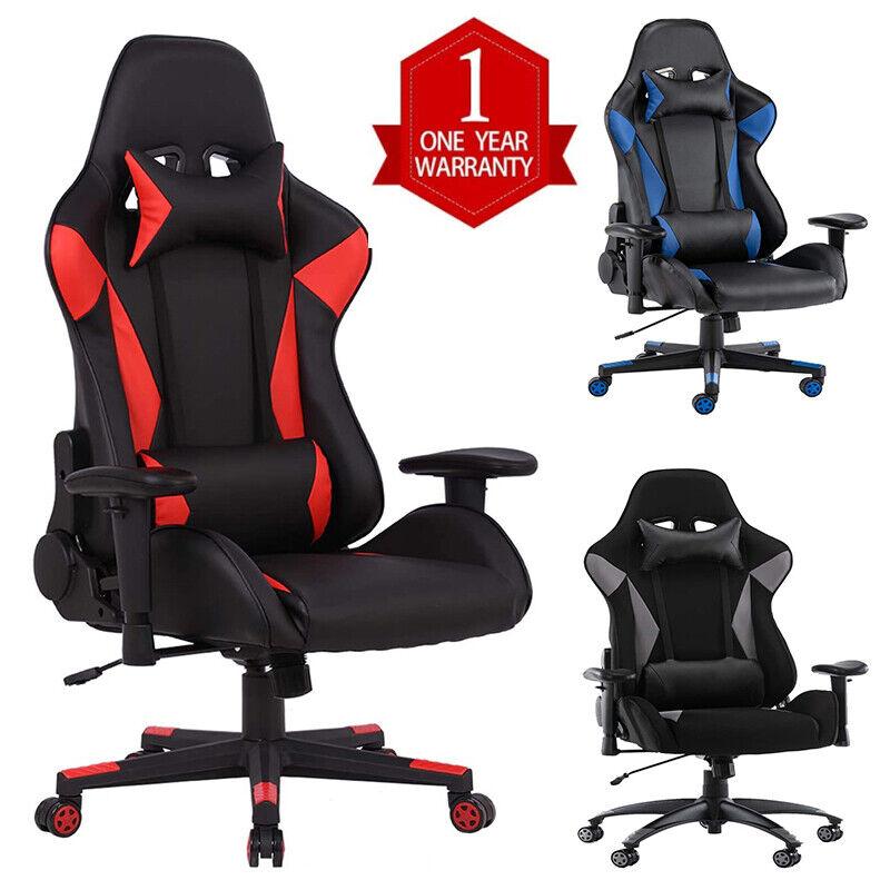 Gaming Chair Racing Ergonomic Recliner Computer Desk Swivel