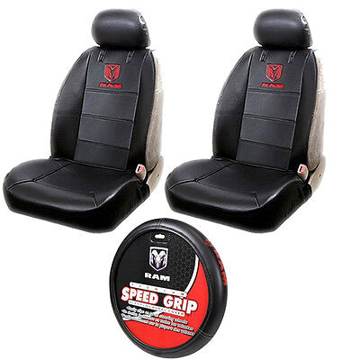 5pcs Dodge RAM Logo Car Truck Seat Covers Steering Wheel Cover Value Pack