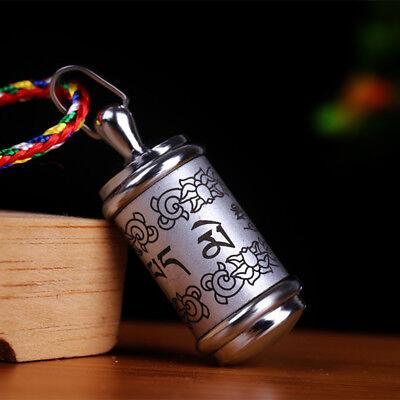 Tibet Buddhist Titanium Ghau Prayer Box Pendant six syllable mantra Silvery Mantra Prayer Box