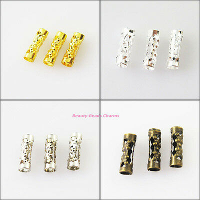 Flower Connector - 100Pcs Flower Tube Spacer Beads Connectors 3x9mm Gold Silver Bronze Plated