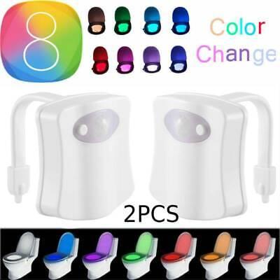 2PCS Bowl Bathroom Toilet Night LED 8 Color Lamp Sensor Moti