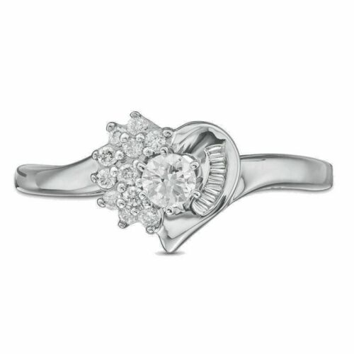 1/4cttw Diamond Shadow Heart Engagement/ Fashion Ring in 10K White Gold
