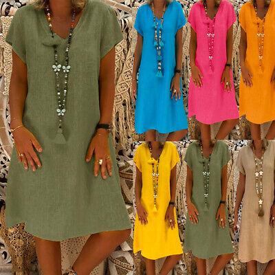 Damen Strandkleid Boho Kleider Sommerkleid Kurze Ärmel Minikleid Baggy Lang (Damen Kleider)
