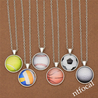 Vintage Sports Ball Cabochon Necklace Jewelry Adjustable Chain Chic Gift Fashion