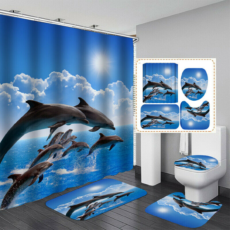 Waterproof Bathroom Shower Curtain Set Non-Slip Mat Rug Toilet Seat Cover Decor Bath