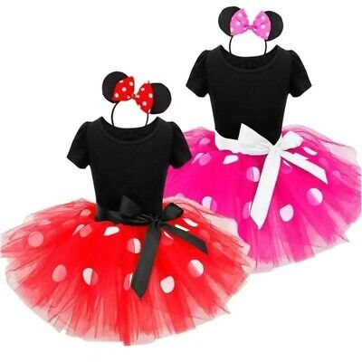 Minnie Mouse Costume For Toddlers (Minnie Mouse Dress for Toddler Girl Fancy Polka Dots Tutu with Headband)