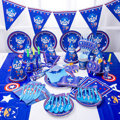 Kids Captain America Birthday Party Supplies Tableware Decoration Plate Banner ](Captain America Birthday)