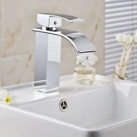 BRAND NEW BOXED Modern Bathroom Square Tap Set Basin Mixer Bath Filler Shower Chrome Mono