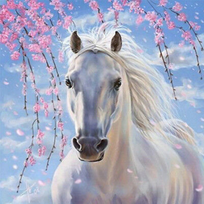 Horse Cross Stitch - US Stock White Horse 5D Diamond DIY Painting Home Decor Cross Crafts Stitch Gift