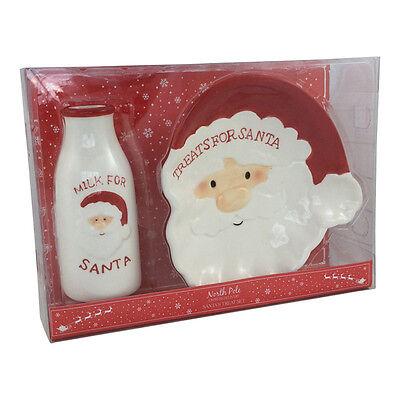 Treats for Santa Plate & Milk Bottle Drink Set Christmas Eve Childrens - Drinks For Kids Halloween