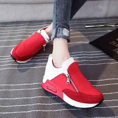 2017 Casual Women's Sneakers Zip Wedge Hidden Heel Running Sport Shoes Trainers