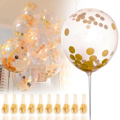 10pcs Gold Confetti Balloons Clear Wedding Birthday Glitter