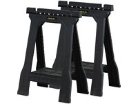 pair of Stanley work trestles folding saw horse. Ideal for DIY or trade carpentry. as new. RRP £30.