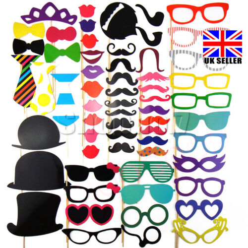 UK 58pcs Photo Booth Props Moustache for Weddings Christmas Birthday Adult Party