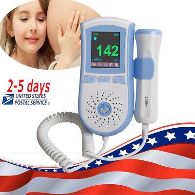 Lcd Pocket Fetal Doppler 3mhz Probe Baby Heart Fetus-voice Meter Backlight Gel
