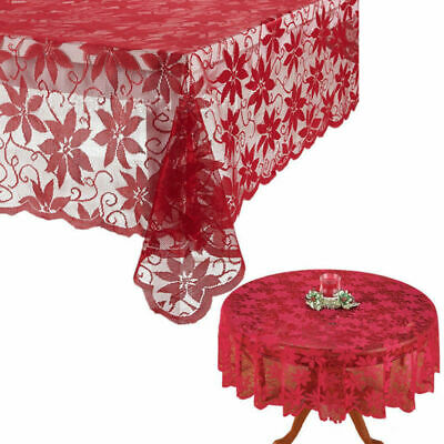 US Festival Table Cloth Red Lace Table Cover Wedding Holiday Xmas Room Decor](Red Tablecloths)