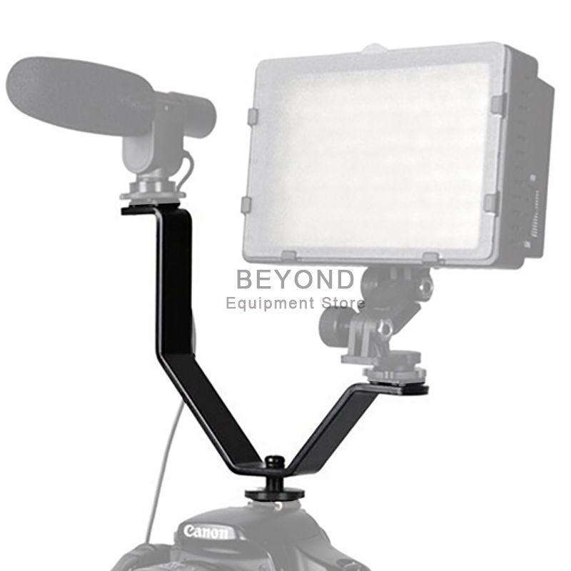 Dual Mount Y Bracket Holder for Video Lights & Microphones on Camera Camcorder