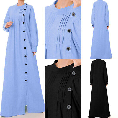 UK Women Long Sleeve Abaya Jilbab Muslim Maxi Dress Oversize Loose Cotton Kaftan