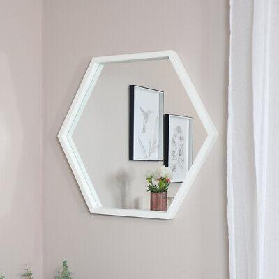 Grande Blanco Hexágono Espejo de Pared Forma Decoración Hogar Retro Scandi Baño