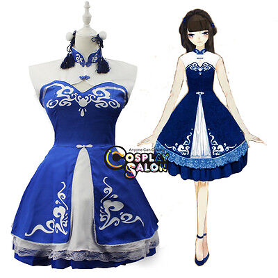 Women Girls Hanfu Chinese Clothing Blue Halloween Anime Costume Dress Cosplay