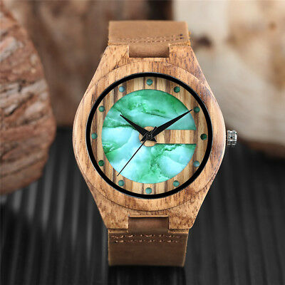 Wooden Watch Handmade Natural Wood Genuine Leather Band Quartz Watches For Men