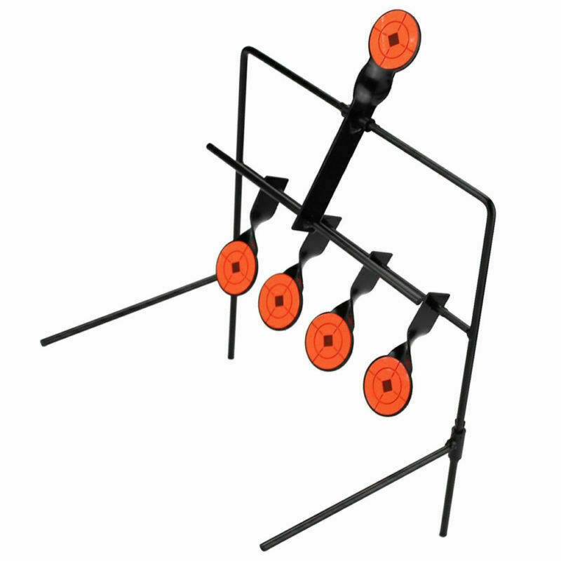 Steel Shooting Targets w//5x Auto Reset Spinning Targets Rifle Pistol Range Shoot