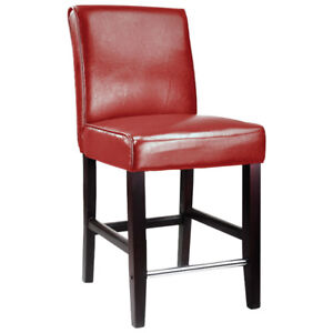 CorLiving™ Counter Height Bar stool, Red Bonded Leather Set of 2
