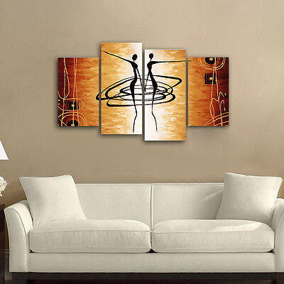 Modern Abstract Canvas Print Painting Picture Home Decor Wall Art Dancers Orange