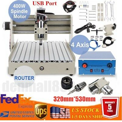 Usb 4 Axis 400w 3040 Cnc Router Engraver Wood Carving Milling Machine Cutting Us