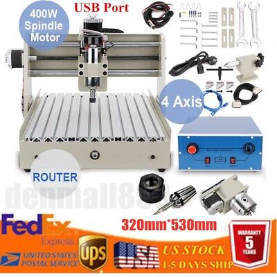 New Cnc3040 4 Axis Usb Router Engraver Engraving Drilling Millcarving Machine
