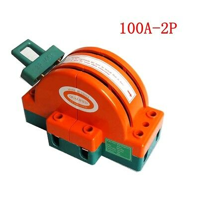 1pc 100a 2 Pole Double Throw Knife Safety Disconnect Switch 220v380v
