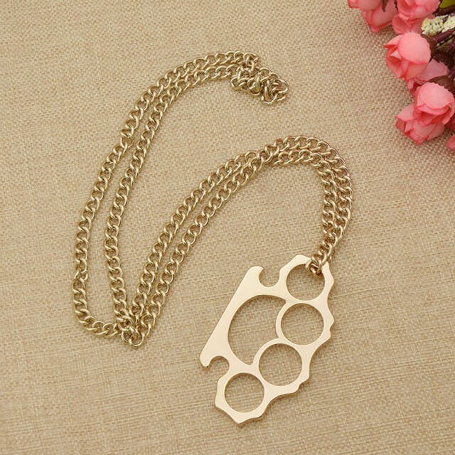 Gold knuckle duster pendant charm women sweater chain long gold knuckle duster pendant charm women sweater chain long necklace jewelry mozeypictures Choice Image