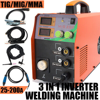 220v Mig Welder Mma Tig Arc 3in1 200amp Gas Wire Portable Welding Machine