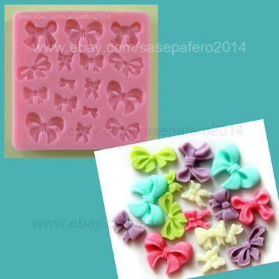 Small bows silicone mold 16 cavities for  fondant, resin clay, melted chocolate.