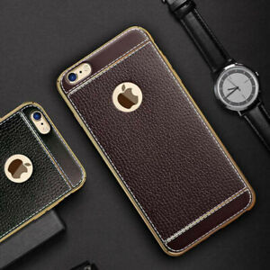IPhone Leather Texture Case with Free Tempered Glass