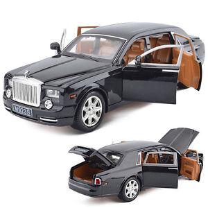 UK Black Rolls-Royce Phantom 1:24 Diecast Alloy Model Car Toy Sound&Light MA