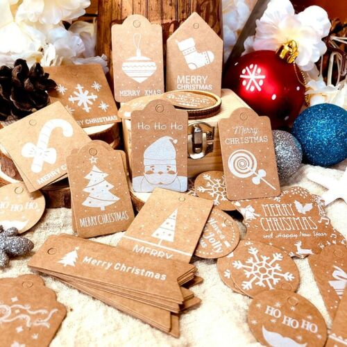 50-100x Christmas Kraft Paper Gift Tags Xmas Cards Scallop Label Luggage Blank