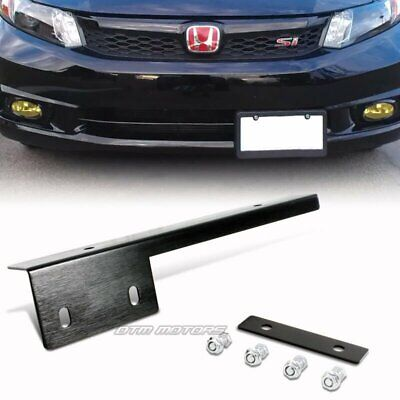 Black Brushed Aluminum Front License Plate Relocate Mounting Bracket Universal A