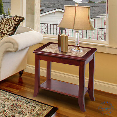 SLEEPLACE NEW Marble End Table with Cherry Wood Finish Cherry Finish Wood End Table