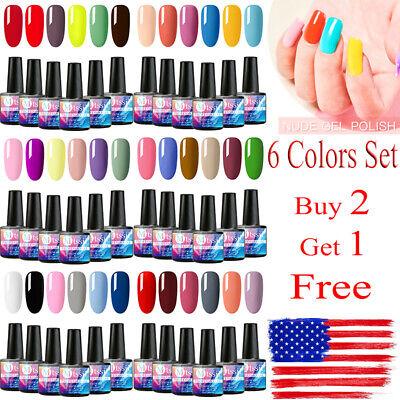 MTSSII 6 Colors Set Gel Nail Polish Soak Off UV Top Base Coat Manicure US STOCK