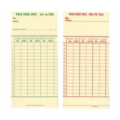 250 Count Form 25-2685-00-8 Semi-monthly Time Cards For Top-load Time Clocks