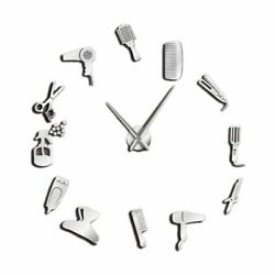 Diy Barber Shop Giant Wall Clock with Mirror Effect Barber Toolkits Decorative F